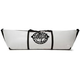 Long white bag with black trimming and company logo.