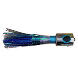 Fishing lure with chrome head, yellow and black eyes, and blue and silver skirt