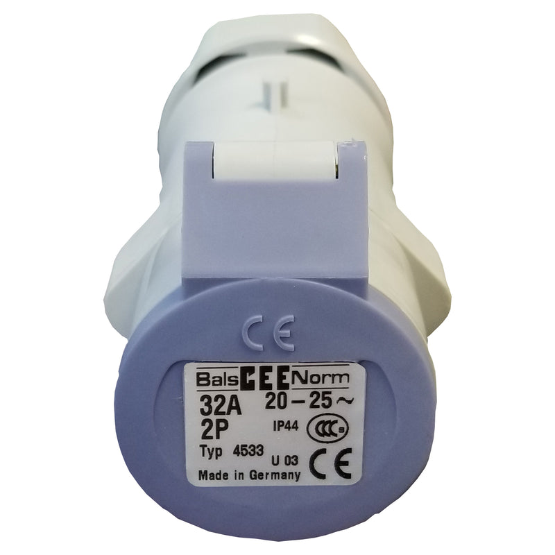 Beige 32AMP female inline  receptor with purple cap