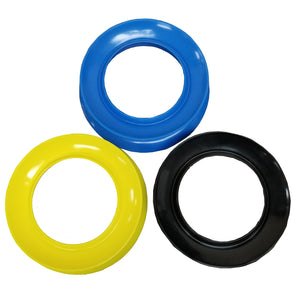 "Plastic hand reel used for handline fishing with 6.5"" center gap. Comes in blue, yellow, and black."