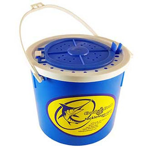 Blue bucket with white handle and yellow/blue store sticker