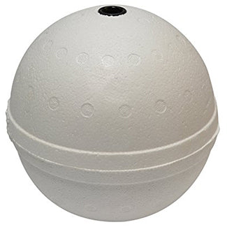 White, 6 inch sphere, with cylindrical insert for poles in the center of the buoy.