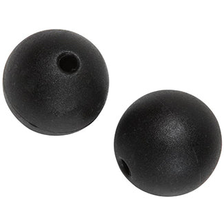 Two small black plastic balls