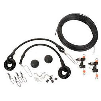 Complete outrigger kit including black ball stops, black monofilament line, and metal clips