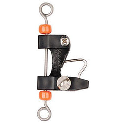 Small fishing release clip made of black plastic and silver metal with orange beads
