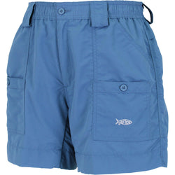 Front angled with side pockets secured with button. Aftco logo on lower portion of pocket.