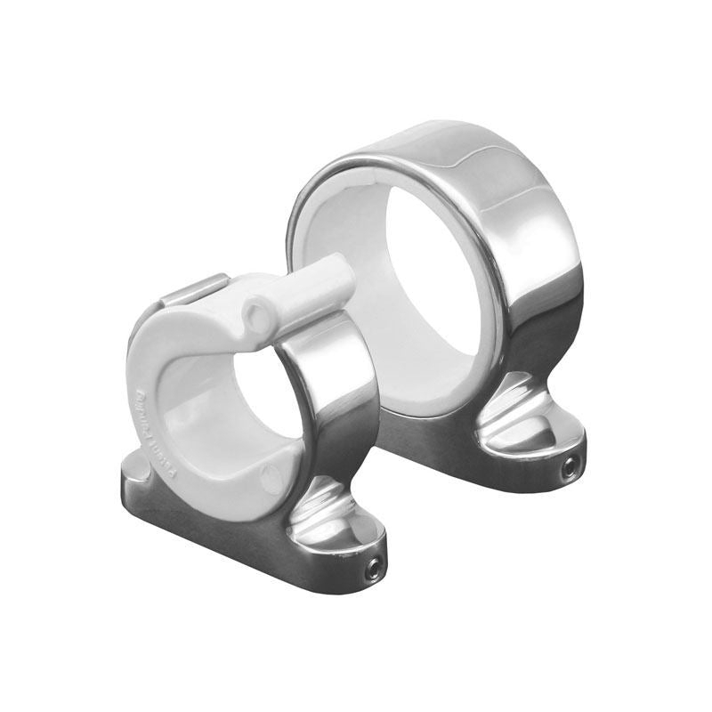 Two rings with stainless steel exterier and white interior. The smaller ring has a white clip on the top.