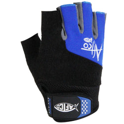 Black and blue glove. AFTCO design logo along the right-side knuckles. Wrist strap has the AFTCO fish logo.