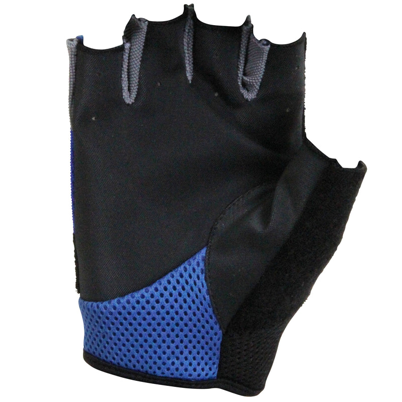 Palm is mostly black with blue mesh.