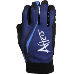 Back of glove with three shades of blue and black wrist. Aftco design along the right of the glove.