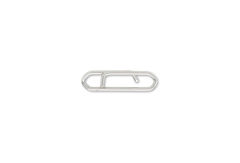 Small rounded piece of metal wire similar to a paper clip.