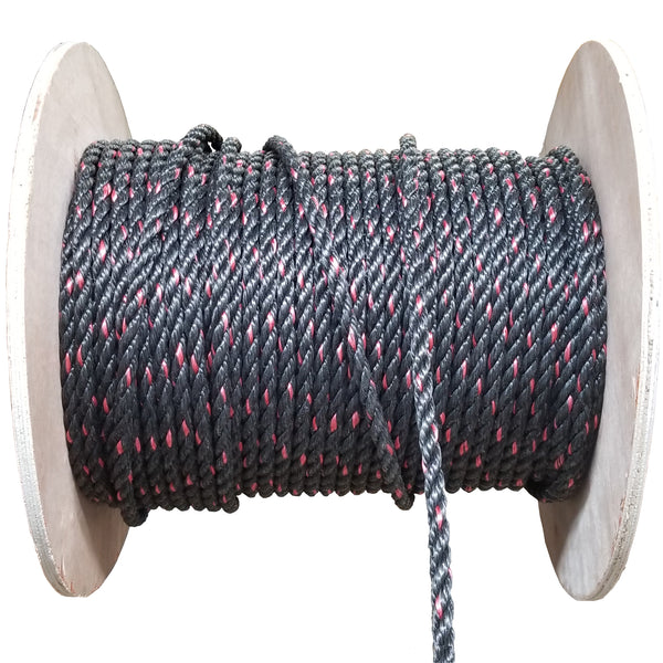 Black and red rope on a spool