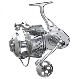 All silver spinning reel