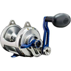 Silver reel and metalic blue arm