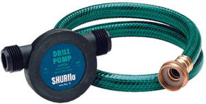 "1/4"" shaft fits standard drill, BUNA impeller and seals. 3/4"" male garden hose ports.  Includes 3' x 1/2"" ID garden hose, 24"" x 1/4"" OD oil probe, and 3"" x 3/8 OD x 1/4"" ID adapter."