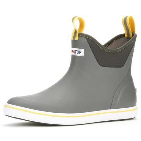 Angled product image of two-tone gray boot. Front and rear of cuff have a yellow and gray loop. Side of sole is white with yellow strip along the top.