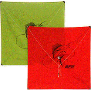Both red and green ulitmate square kites overlapping each other with sailfish logo in center of each kite