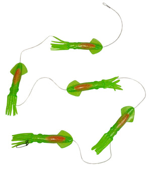 Five squid chained together with a short distance in between. Image shown has green squid with an orange insert.