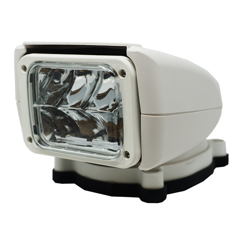 Rectangular light with stout white casing on mount base.