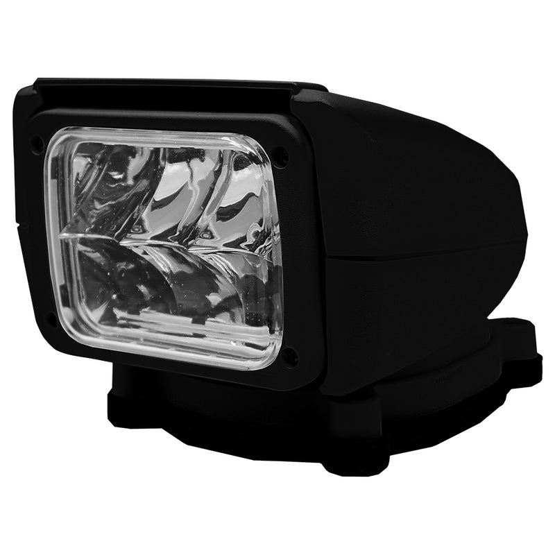 Rectangular light with stout black casing on mount base.