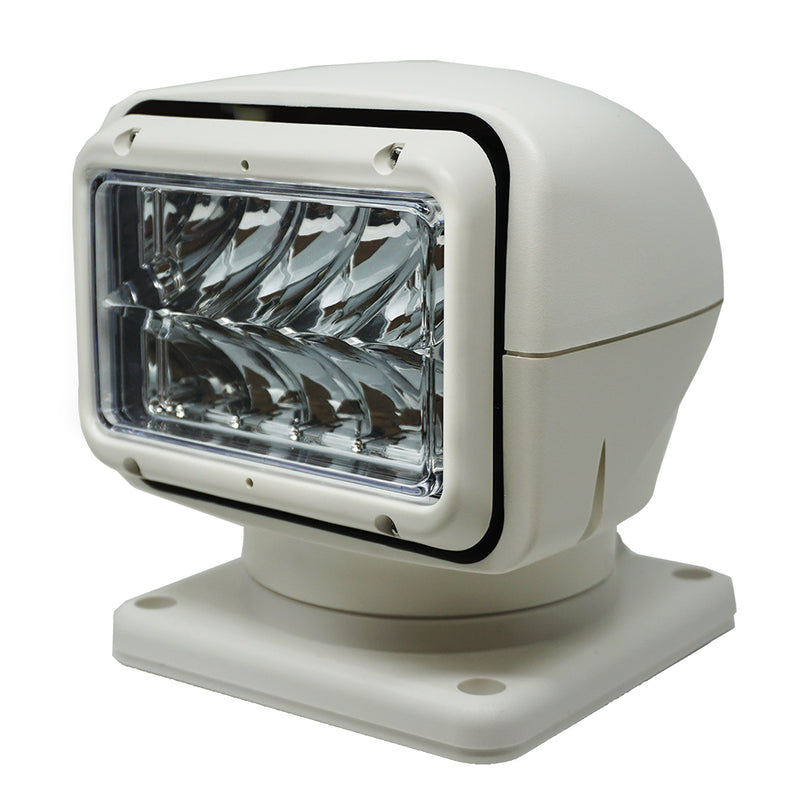 Rectangular light with rounded white casing on mount base.