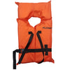 Orange shaftey vest; rectangle in shape with circular cutting for head. Black straps along high and low chest area.