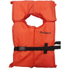 Orange shaftey vest; rectangle in shape with circular cutting for head. Black strap along chest area.