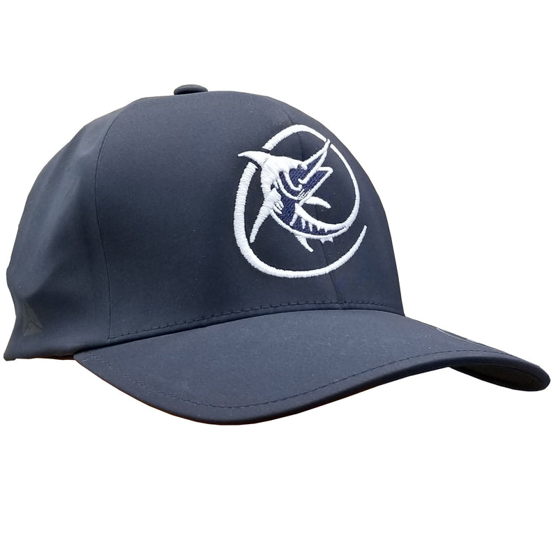 "Navy hat with Marlin ""C"" logo in white"