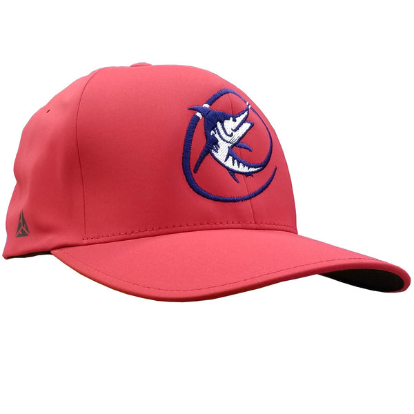"Red hat with Marlin ""C"" logo in navy"