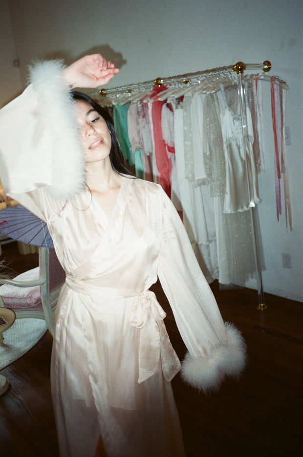 Ginny Silk Chiffon and Marabou Robe