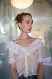 Gia Silk Voile and Eyelet Blouse