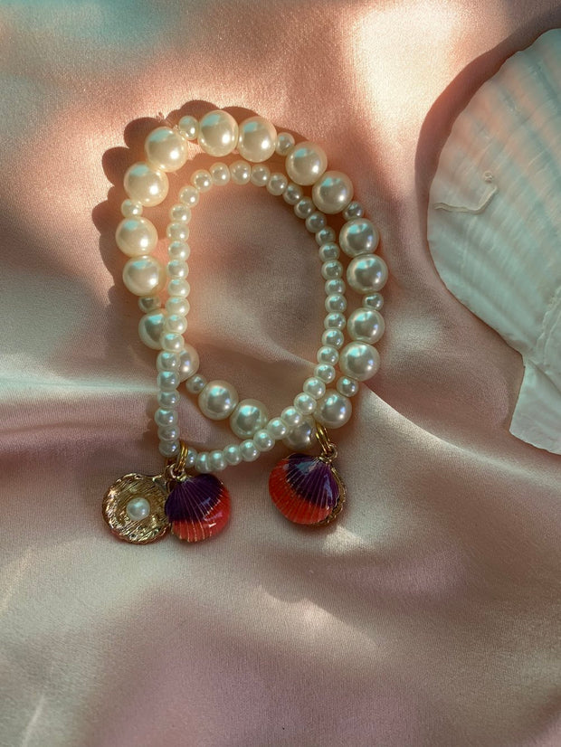 Enamel Shell Pearl Friendship Bracelet