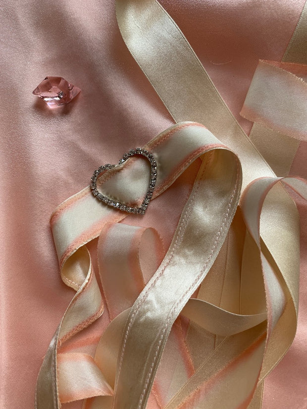 Claudette Diamanté Heart Ribbon Tie