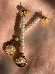 Pearl Drop Open Shell Earrings