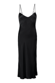Raquel Bias Cut Noir Silk Slip Dress