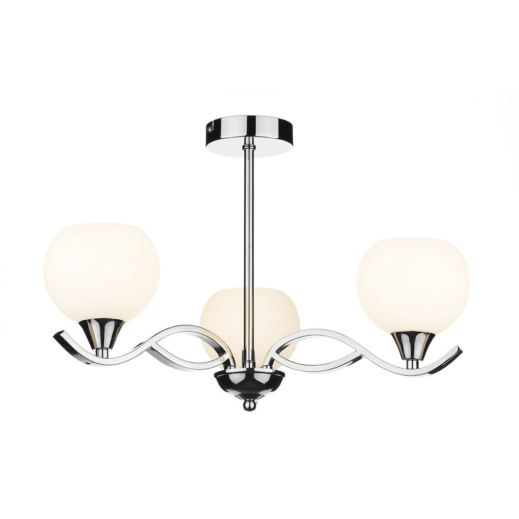 Aruba 3 Light Semi Flush Polished Chrome