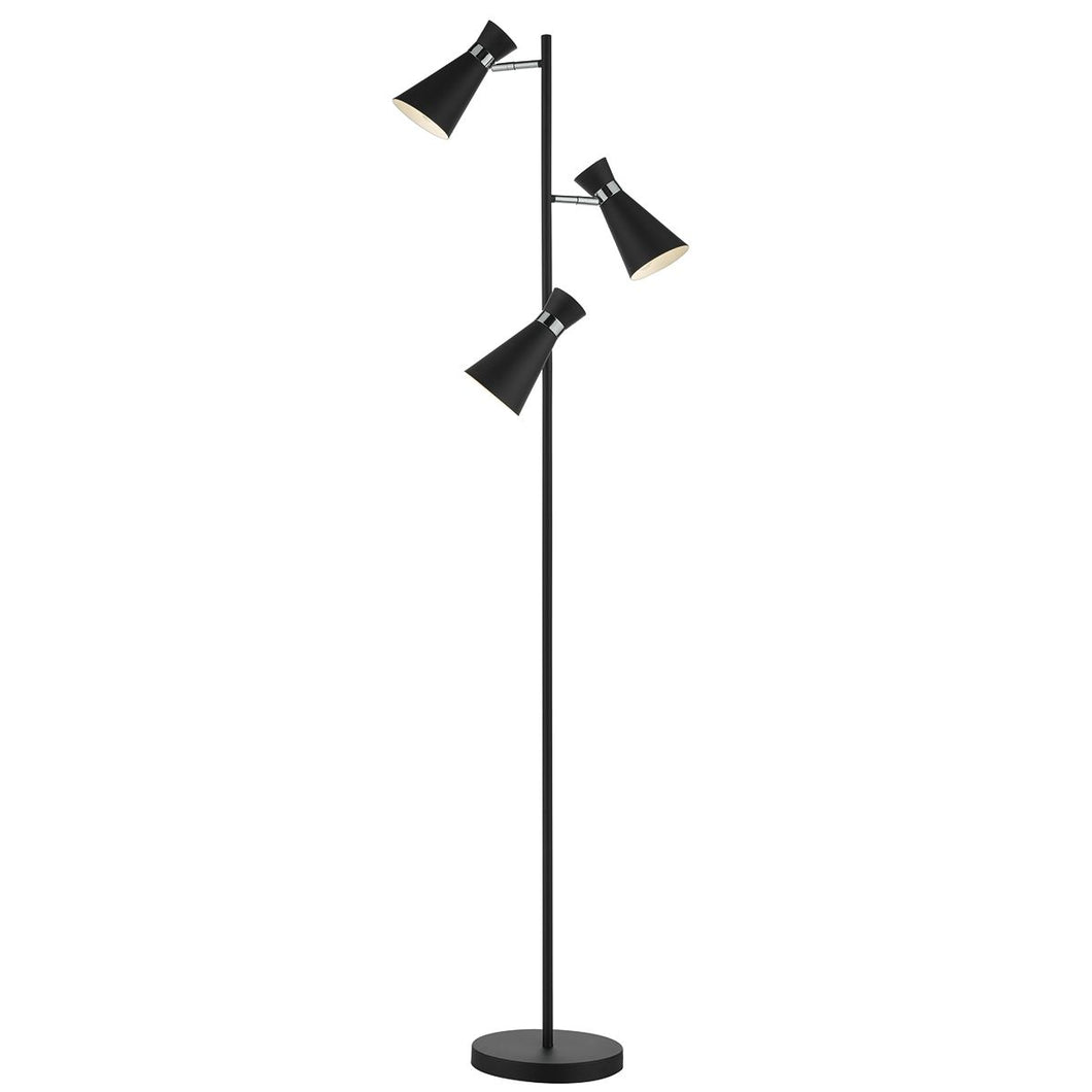 Ashworth 3 Light Floor Lamp Matt Black & Polished Chrome