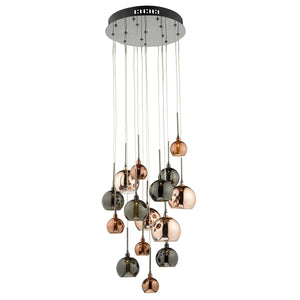Aurelia 15 Light Cluster Pendant with Copper & Bronze Glass Shades