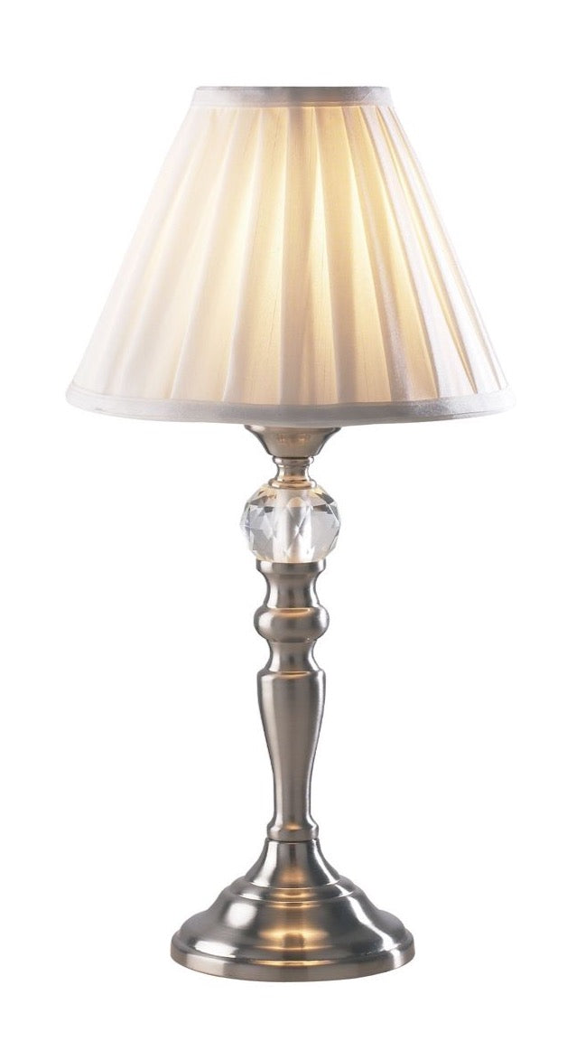 Beau Touch Table Lamp Satin Chrome complete with BEA122 Shade