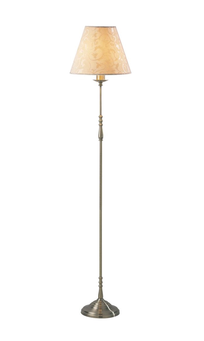 Blenheim Floor Lamp Antique Brass complete with Damask Shade