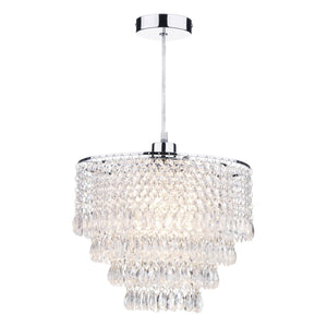 Dionne Non Elec Pendant Polished Chrome Clear Droppers