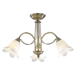 Doublet 3 Light Semi Flush Antique Brass complete with Alabaster Glass