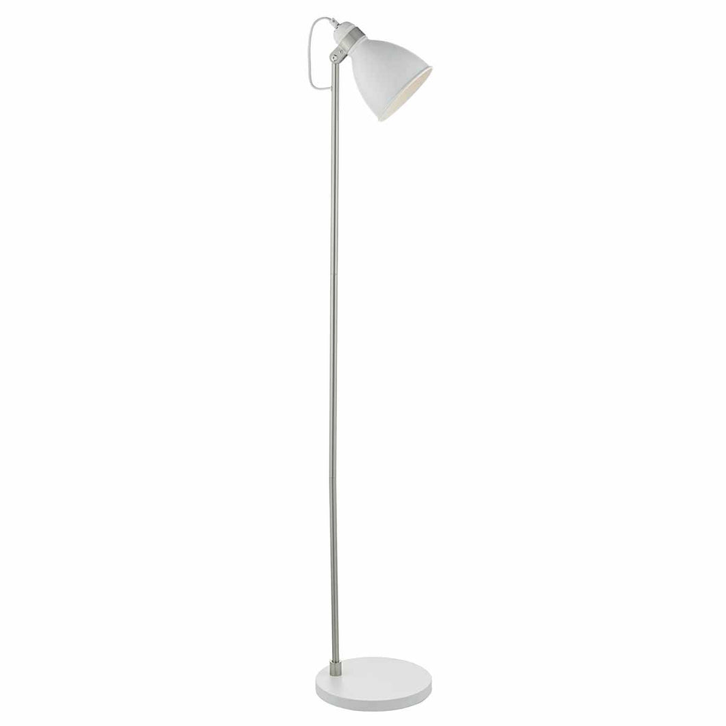 Frederick Floor Lamp White & Satin Chrome
