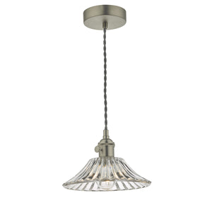 Hadano 1 Light Pendant Antique Chrome C/W Flared Glass Shade