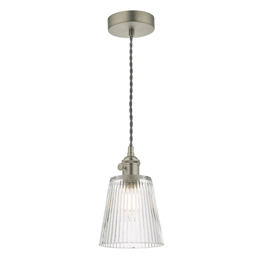Hadano 1 Light Pendant Antique Chrome C/W Ribbed Glass Shade