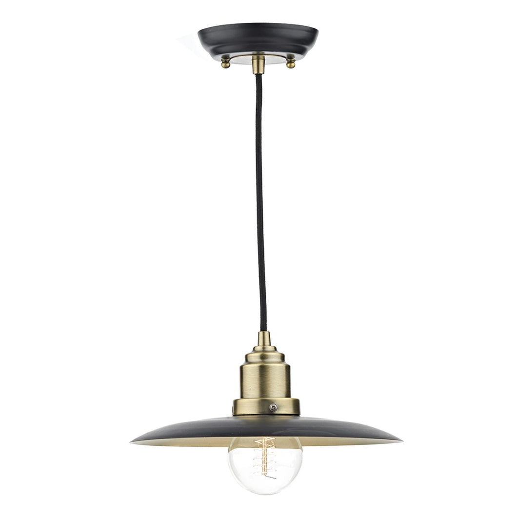 Hannover 1 Light Pendant Black/Antique Brass