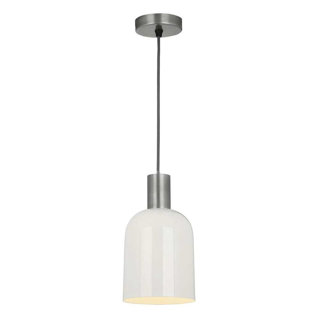 Hester 1lt Pendant Cream & Pewter Chrome