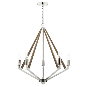 Hotel 5 Light Pendant Polished Nickel Wood