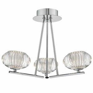 Jensine 3lt Semi Flush Polished Chrome & Faceted Glass