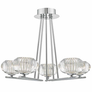 Jensine 5lt Semi Flush Polished Chrome & Faceted Glass